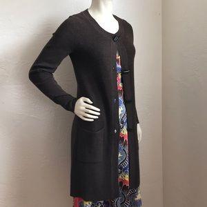 Ellen Tracy extra long merino wool blend cardigan